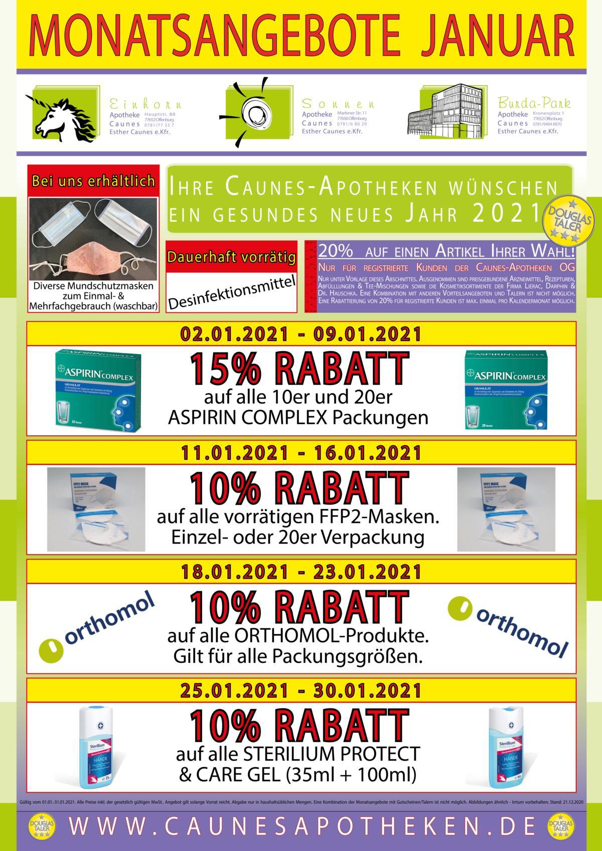 Monatsangebote Teil 1 - Gehwegreiter Plakat DIN-A4 19% - 2021-01 - Offenburg