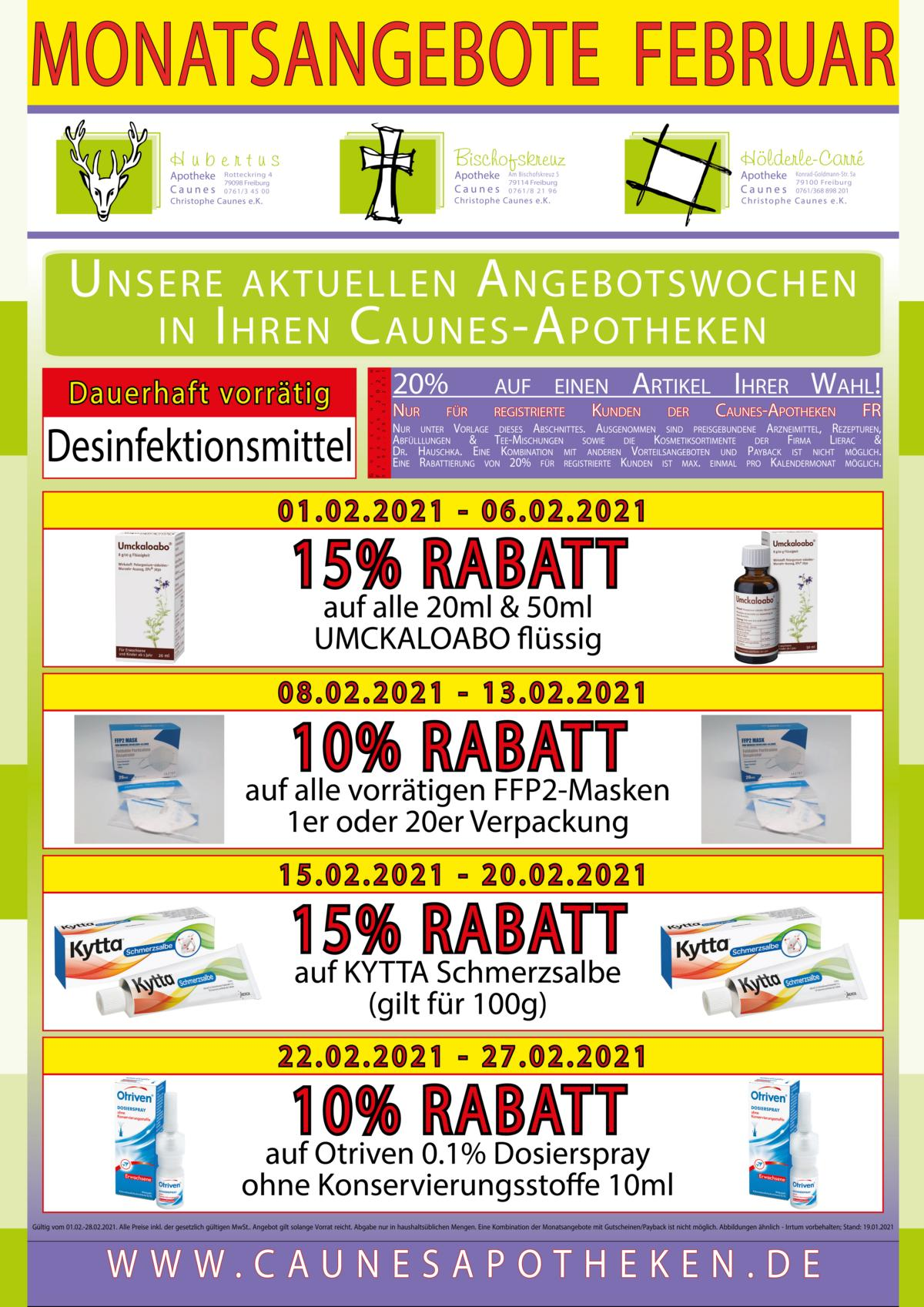 Monatsangebote Teil 1 - Gehwegreiter Plakat DIN-A4 19% - 2021-02 - Freiburg
