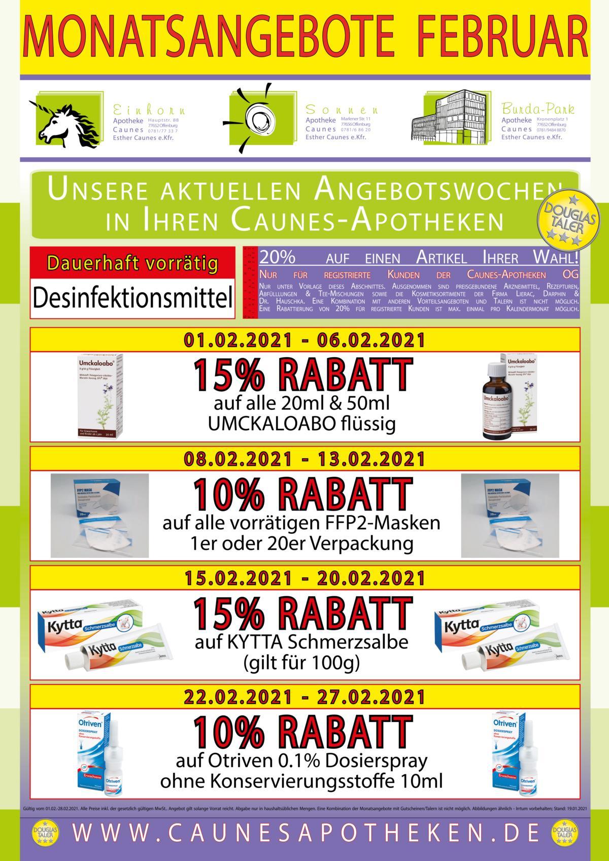 Monatsangebote Teil 1 - Gehwegreiter Plakat DIN-A4 19% - 2021-02 - Offenburg